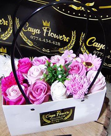 Cadou flori de sapun tip sacosa – PINK