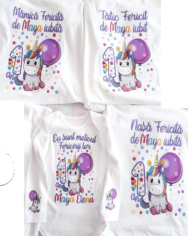 Set personalizat Purple Baby Unicorn (2AD+1COP)